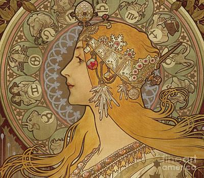Painting - Zodiac, 1896  by Alphonse Marie Mucha