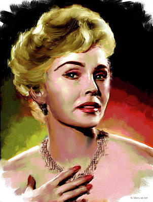 Curated Bath Towels - Zsa Zsa Gabor painting by Stars on Art