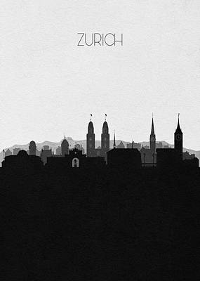 Digital Art - Zurich Cityscape Art by Inspirowl Design
