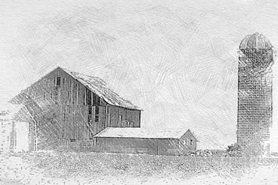 Monochrome Landscapes - 0011 - Farm in the Fog  by Sheryl L Sutter