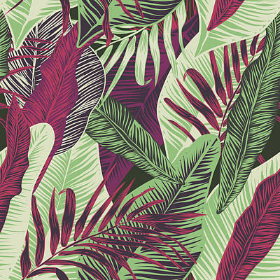 Royalty-Free and Rights-Managed Images -  , Seamless, Tropical, Exotic, Trendy, Stylish, Trendy, Pattern Of Exotic, Tropical Plants, And Shades Of Green. Applicable In Advertising Prints, Printing.  by Julien