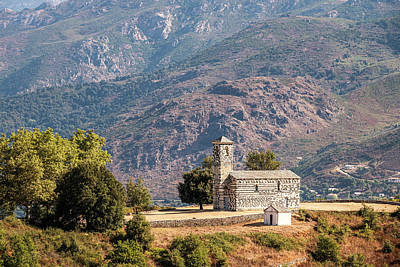 Photograph - 12th century Roman church at Murato in Corsica by Jon Ingall