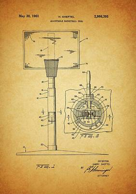 Sports Royalty-Free and Rights-Managed Images - 1961 Basketball Hoop Patent by Dan Sproul