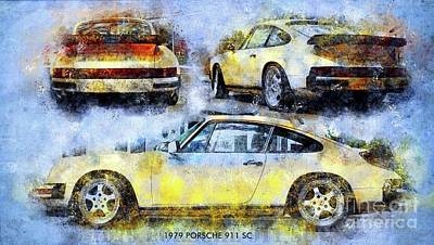 Royalty-Free and Rights-Managed Images - 1979 PORSCHE 911 SC Poster,Classic Cars Posters for Classic Cars Fans by Drawspots Illustrations