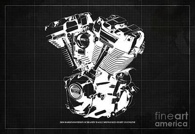 1920s Flapper Girl - 2020 Harley Davidson Screamin Eagle Milwaukee-Eight 131 Engine Blueprint Brown Background by Drawspots Illustrations