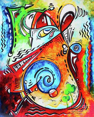 Painting - Abstract Art Whimsical Seuss Like Happy Joyful Original Painting Modern Artwork Megan Duncanson by Megan Duncanson