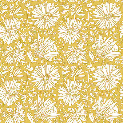Royalty-Free and Rights-Managed Images - Abstract hand drawn flower pattern. Doodle floral ornament. seamless golden flowers background.  by Julien