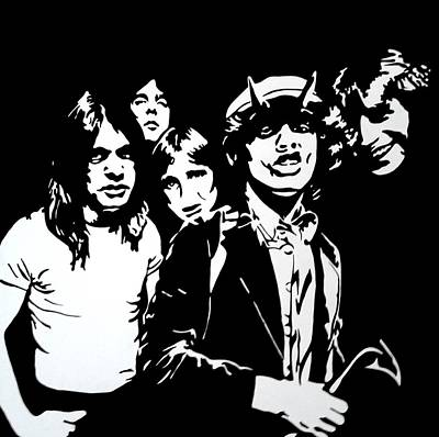 Kids Cartoons - Ac/dc Acdc Ac / Dc Hard Rock Band Portrait Painting by Artista Fratta