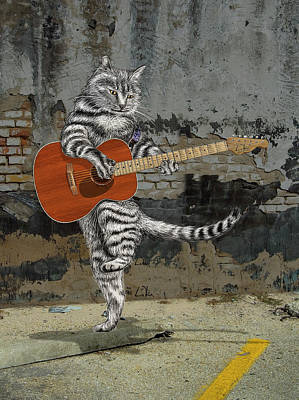 Drawings Royalty Free Images - Acoustic Cat Guitar Royalty-Free Image by Doug LaRue