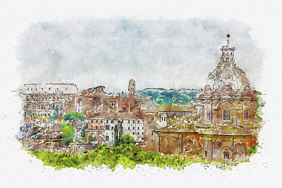 Mixed Media - Aquarelle sketch art. Aerial scenic view of Rome, Italy. Scenery of Roma city. by Beautiful Things