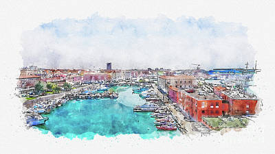 Mixed Media - Aquarelle sketch art. Old fortress of Livorno, Tuscany, Italy by Beautiful Things
