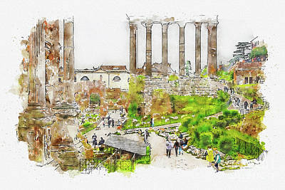 Mixed Media - Aquarelle sketch art. Roman ruins in Rome, Forum by Beautiful Things