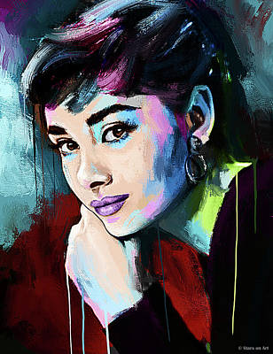 Modern Sophistication Line Drawings - Audrey Hepburn painting by Stars on Art