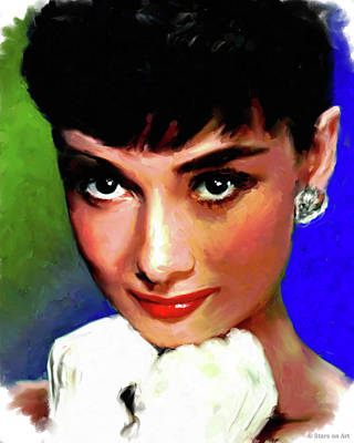 Curated Round Beach Towels - Audrey Hepburn by Stars on Art