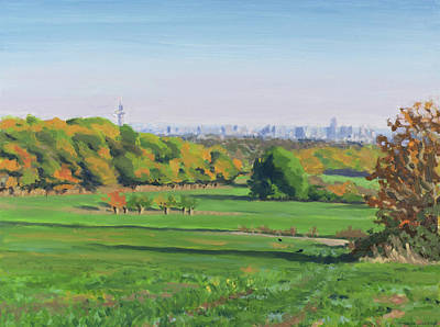 Painting - Autumn landscape with city skyline  by Constanza Weiss