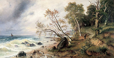 Angels And Cherubs - Baltic Sea Coast on the Island of Vilm by Friedrich Preller the Younger
