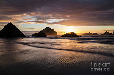 Photograph - Bandon Sun Burst at Sunset by Keith Kapple
