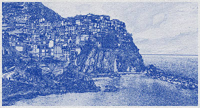 Vintage Movie Stars - Blueprint drawing of Cinque Terre 3 by Celestial Images