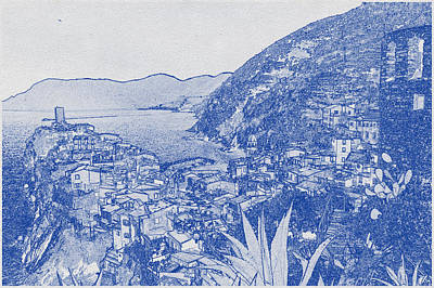Vintage Movie Stars - Blueprint drawing of Cinque Terre 4 by Celestial Images