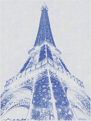 Bath Time - Blueprint drawing of Eiffel Tower by Celestial Images