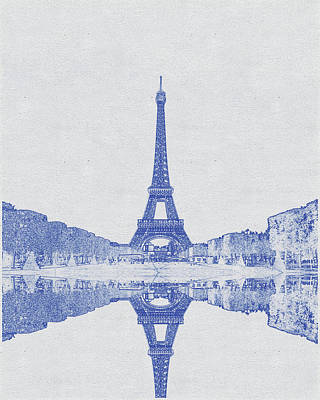 Bath Time - Blueprint drawing of Eiffel tower, Paris, France  by Celestial Images