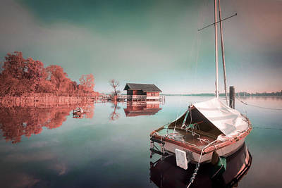 Surrealism Royalty-Free and Rights-Managed Images - Boat House and Sailboat - Surreal Art by Ahmet Asar by Celestial Images