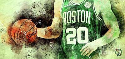 Royalty-Free and Rights-Managed Images - Boston Celtics Basketball Team,Original Sports Posters for fans by Drawspots Illustrations