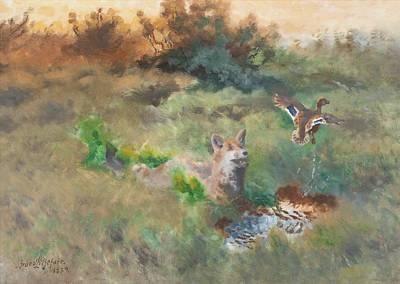 Animal Portraits - Bruno Liljefors Fox And Mallard by Arpina Shop