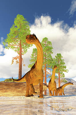 Catch Of The Day - Camarasaurus Dinosaur Herd by Corey Ford