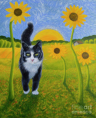 Royalty-Free and Rights-Managed Images - Cat and Sunflowers by Veikko Suikkanen