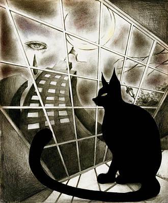 Surrealism Drawings - Cat by Hiroko Sakai