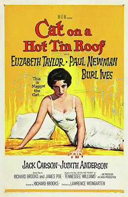 Royalty-Free and Rights-Managed Images - Cat on a Hot Tin Roof movie poster 1958 by Stars on Art