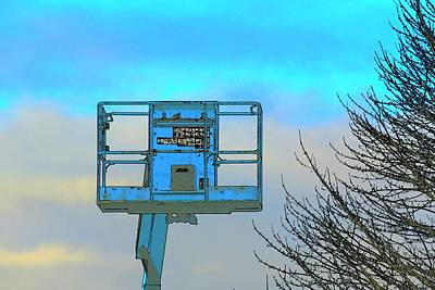 Jerry Sodorff Royalty-Free and Rights-Managed Images - Cherry Picker and Tree by Jerry Sodorff