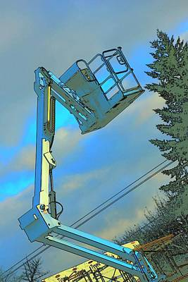 Jerry Sodorff Royalty-Free and Rights-Managed Images - Cherry Picker Building Under Consrtruction by Jerry Sodorff