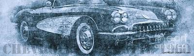 Drawings Royalty Free Images - Chevrolet Corvette 1960 Classic Car Royalty-Free Image by Drawspots Illustrations