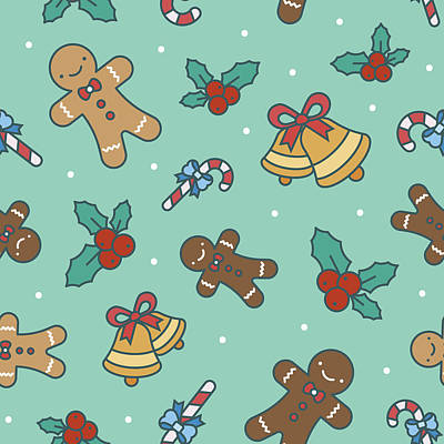 Royalty-Free and Rights-Managed Images - Christmas sweets seamless pattern by Julien