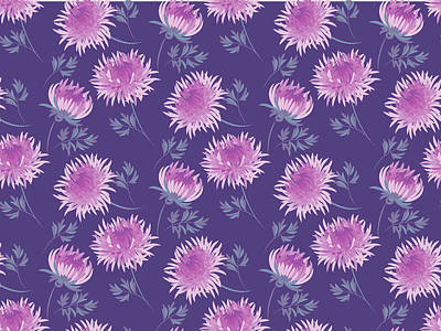 Royalty-Free and Rights-Managed Images - Chrysanthemum flower seamless pattern in violet elegant color by Julien