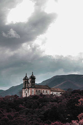 Surrealism Royalty Free Images - Cloudy sky over church in mountain valley - Surreal Art by Ahmet Asar Royalty-Free Image by Celestial Images