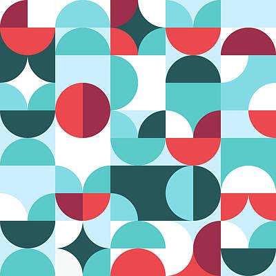 Digital Art - Colorful shape geometric in scandinavian style seamless pattern by Julien
