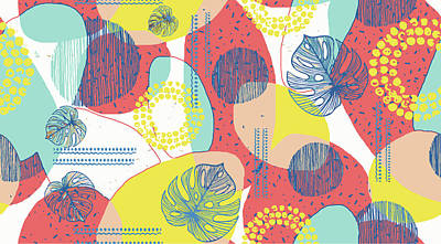 Royalty-Free and Rights-Managed Images - Creative doodle art header with different shapes and leafs textures seamless pattern design. Collage.  by Julien