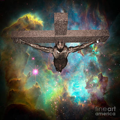 Surrealism Digital Art - Crucified cyborg by Bruce Rolff