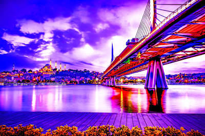 Royalty-Free and Rights-Managed Images - CyberPunk Neon, Cityscape - skyline - Urban -  Istanbul 27 by Celestial Images