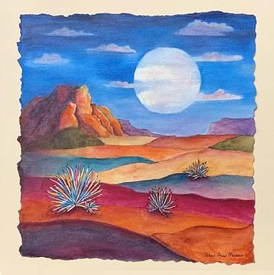 Mixed Media - Desert Moon by Terry Ann Morris