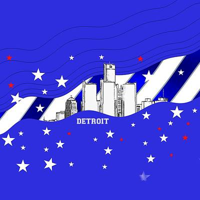 Sports Royalty-Free and Rights-Managed Images - Detroit sportive skyline by Alberto RuiZ