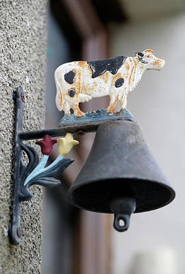 Popstar And Musician Paintings Royalty Free Images - Doorbell with cow design, Ecluse 28 Argenvieres, Rue Saint-Martin, Argenvieres, Cher, Centre, France Royalty-Free Image by Kevin Oke