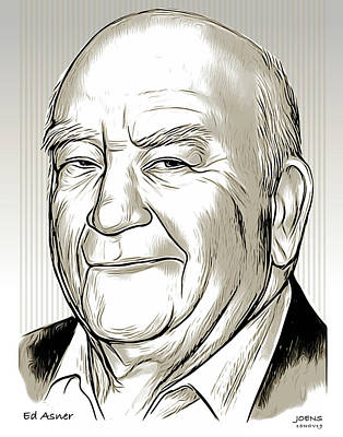 Modern Sophistication Line Drawings Royalty Free Images - Ed Asner Royalty-Free Image by Greg Joens