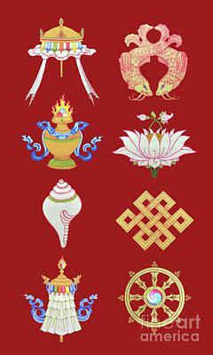 Painting - Eight Auspicious Symbols by Carmen Mensink