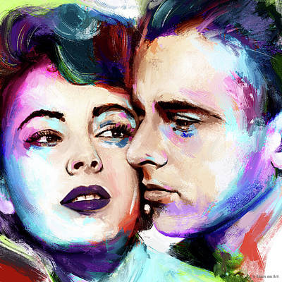 Zodiac Posters - Elizabeth Taylor and Montgomery Clift by Stars on Art