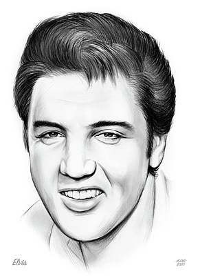 Musicians Drawings Rights Managed Images - Elvis Royalty-Free Image by Greg Joens