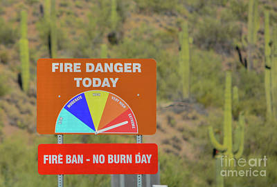 Landscapes Royalty-Free and Rights-Managed Images - Extreme Fire Danger, fire ban at Lake Pleasant Regional Park, Sonoran Desert, Arizona USA by Norm Lane